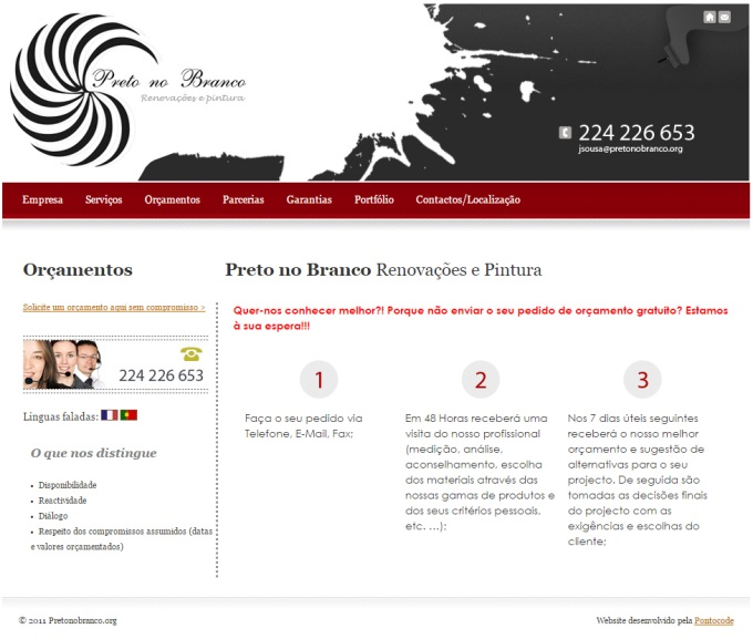 Website Preto no Branco