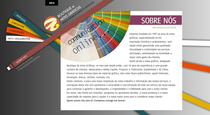 Website Boutique das Artes Gráficas